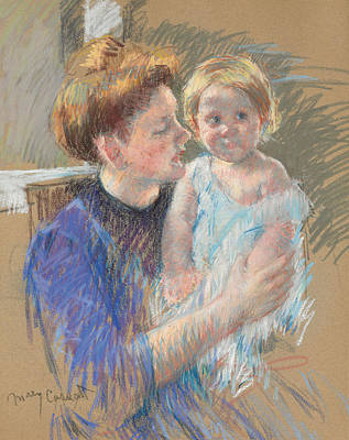 Caring Mother Pastel - Mother In Purple Holding Her Child by Mary Stevenson Cassatt