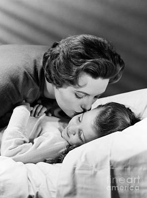 Mother Kissing Girl Goodnight, C.1950s Art Print