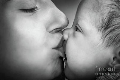 Sweet Photograph - Mother Kissing Her Newborn Baby. Close-up Black And White Portrait by Michal Bednarek