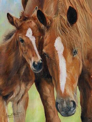 Equine Painting - Mother Love by David Stribbling