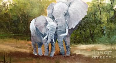 Painting - Mother Love Elephants by Barbara Haviland