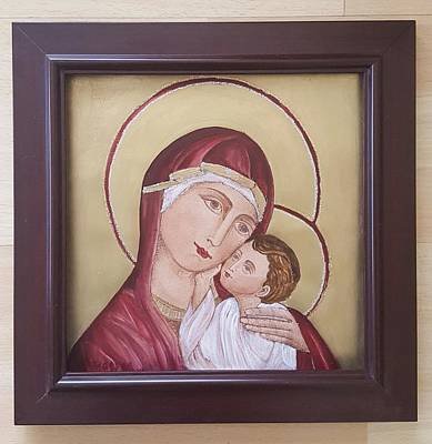 Mother Mary And Jesus Icon Original
