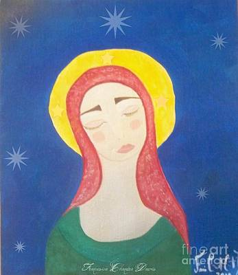 Folk Art Mixed Media - Mother Mary  by Sacred  Muse