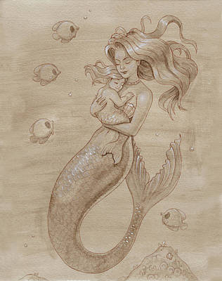 Sepia Ink Mixed Media - Mother Mermaid by Dream Pigment
