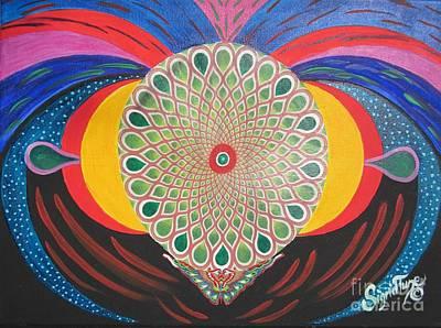Painting -   Blaa Kattproduksjoner  Mother Moth Mandala by Sigrid Tune