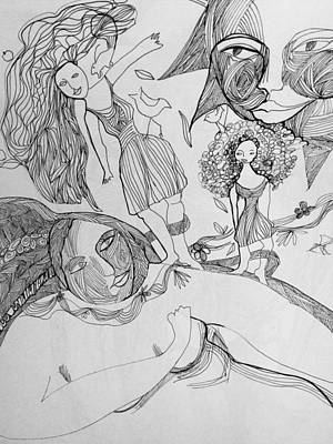 Wall Art - Drawing - Mother Nature With Her Daughters by Rosalinde Reece
