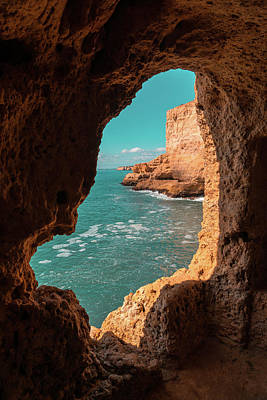 Blueish Photograph - Mother Natures Art - Fantabulous Rock Window With A View by Georgia Mizuleva
