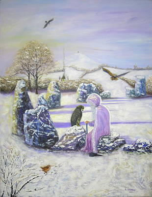 Painting - Mother Of Air Goddess Danu - Winter Solstice by Shirley Wellstead