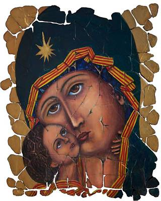 Russian Icon Digital Art - Mother Of God By Lena Owens by Lena  Owens OLena Art