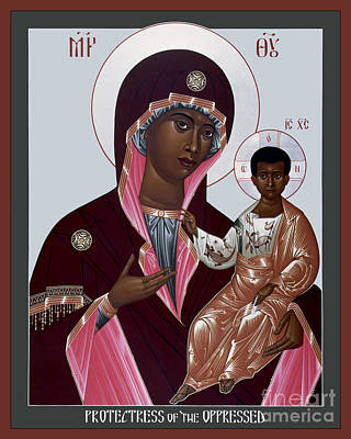 Painting - Mother Of God - Protectress Of The Oppressed - Rlpoo by Br Robert Lentz OFM