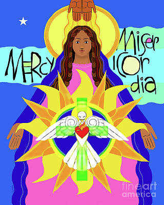 Holy Trinity Icon Painting - Mother Of Mercy - Mmmcy by Br Mickey McGrath OSFS