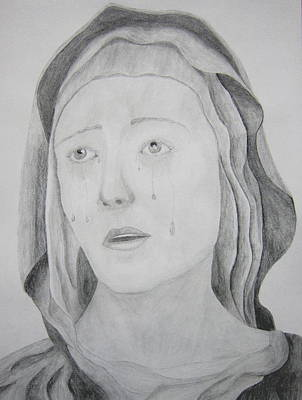 Weeping Drawing - Mother Of Sorrows by Joshua Elzner