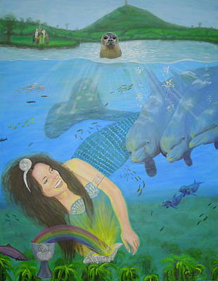 Painting - Mother Of Water Goddess Domnu - Summer Solstice by Shirley Wellstead