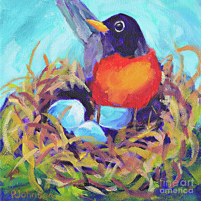Painting - Mother Robin By Peggy Johnson by Peggy Johnson
