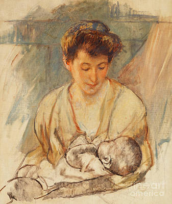 Breastfeeding Painting - Mother Rose Looking Down At Her Sleeping Baby by Mary Stevenson Cassatt