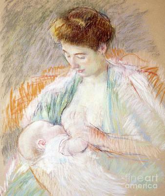 Pastel - Mother Rose Nursing Her Child by Mary Stevenson Cassatt