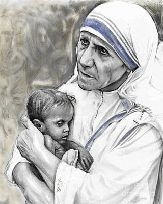 Calcutta Painting - Mother Teresa. God Bless This Child by Mark Tonelli