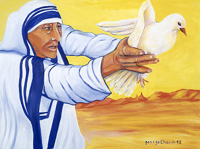 Mother Teresa In New Mexico Art Print by George Chacon