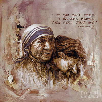 Nobel Peace Prize Painting - Mother Teresa Of Calcutta  by Gull G