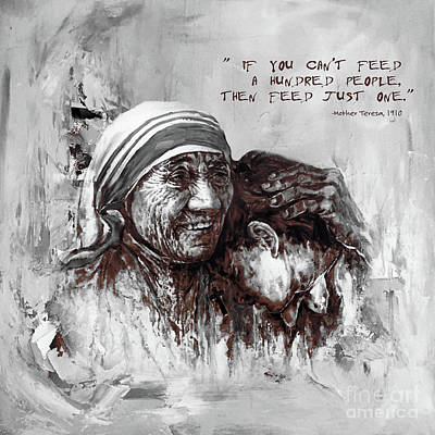 Nobel Peace Prize Painting - Mother Teresa Of Calcutta Portrait  by Gull G