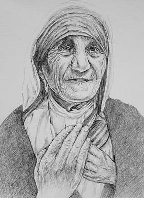 Drawing - Mother Teresa Pc by Hae Kim