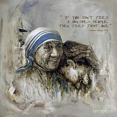 Nobel Peace Prize Painting - Mother Teresa Portrait  by Gull G