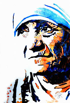 Abstract Beach Landscape Painting - Mother Teresa by Steven Ponsford