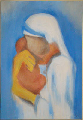 Teresa Painting - Mother Teresa With Child by Chetna  Pandya