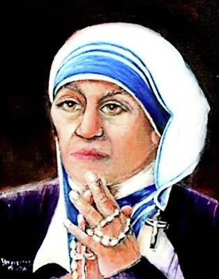 Painting - St. Mother Theresa  by Bernadette Krupa
