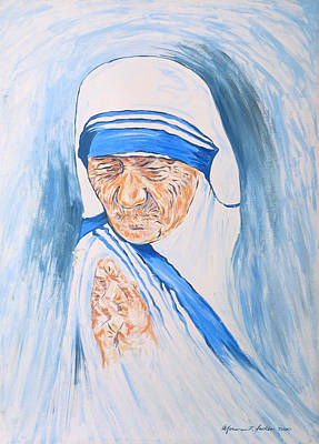 Painting - Mother Theresa In Prayer by Norman F Jackson