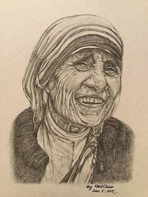 Black And White Drawing - Mother Theresa Kindness by Kent Chua