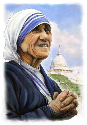 Mother Theresa Painting - Mother Theresa by Patrick Hoenderkamp