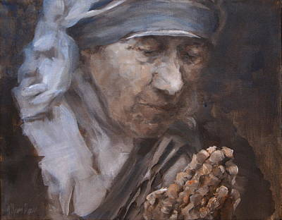 Mother Theresa Painting - Mother Theresa, Samll by Mary Haas