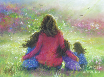Three Sisters Painting - Mother Three Daughters Garden by Vickie Wade