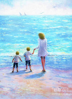 Two Little Boys Painting - Mother Two Beach Boys Blondes by Vickie Wade
