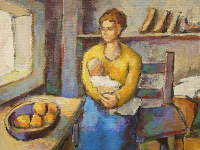 Fruit Bowl Window Painting - Mother With Child by Alfons Niex
