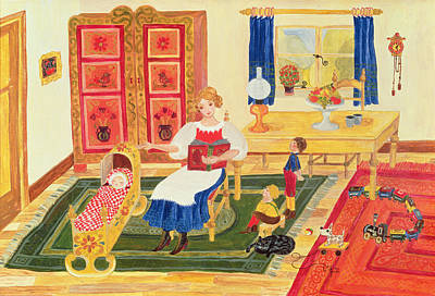 Play Room Painting - Mother With Children by Ditz