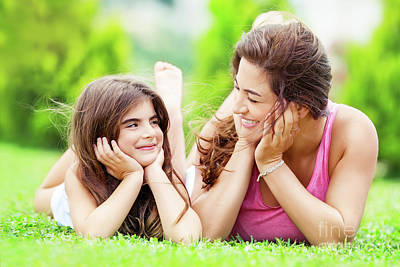 Photograph - Mother With Daughter Outdoors by Anna Om