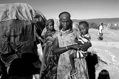 Photograph - Mother With Her Son, Refugee Camp, African Diaspora, Somalia by Wernher Krutein