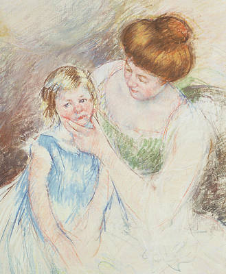 Chin Painting - Mother With Left Hand Holding Sara's Chin  by Mary Stevenson Cassatt