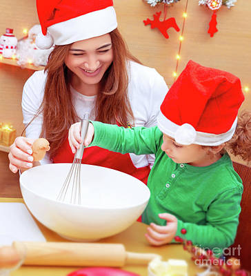 Photograph - Mother With Son Baking Christmas Cookies by Anna Om