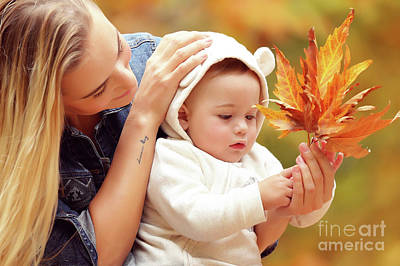 Photograph - Mother With Son Enjoying Autumn by Anna Om