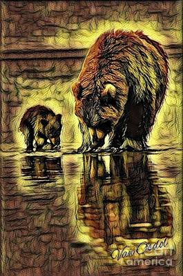 Mother With Young Cub - Autumns Arrival Abstract  Art Print