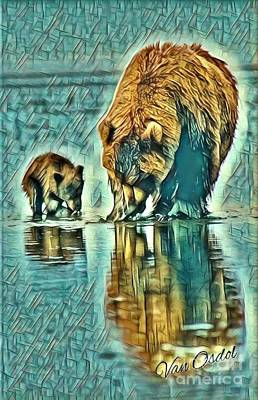 Mother With Young Cub - Morning Frost Abstract  Art Print