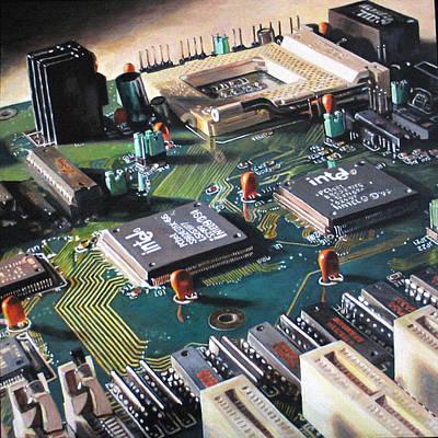 Processor Painting - Motherboard by Pamela Bennett