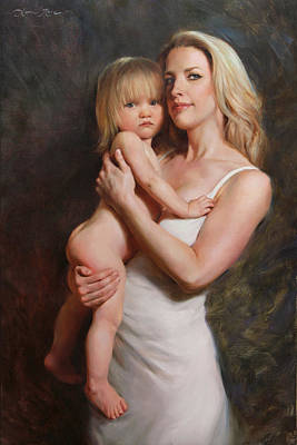 Toddler Portrait Painting - Motherhood by Anna Rose Bain