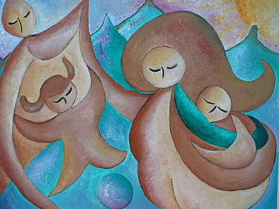 Motherhood Family Oil Painting Us Today Original By Gioia Albano Art Print by Gioia Albano