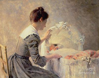 Cribs Painting - Motherhood by Louis Emile Adan