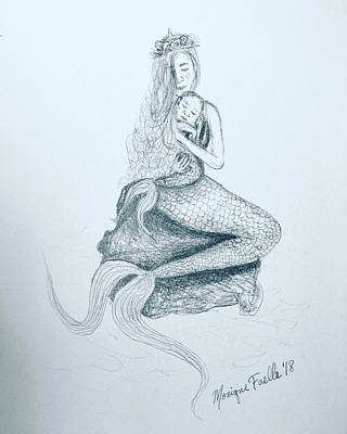 Drawing - Motherhood Mermaid by Monique Faella