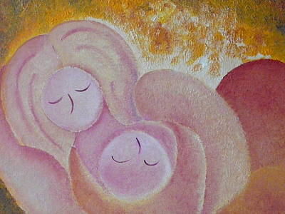 Motherhood Oil Painting Sweet Sleeping Original By Gioia Albano Art Print